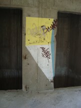Close up, between the lift shafts, sniper's nest, Mostar