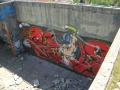 Graffiti, rooftop, sniper's nest, Mostar