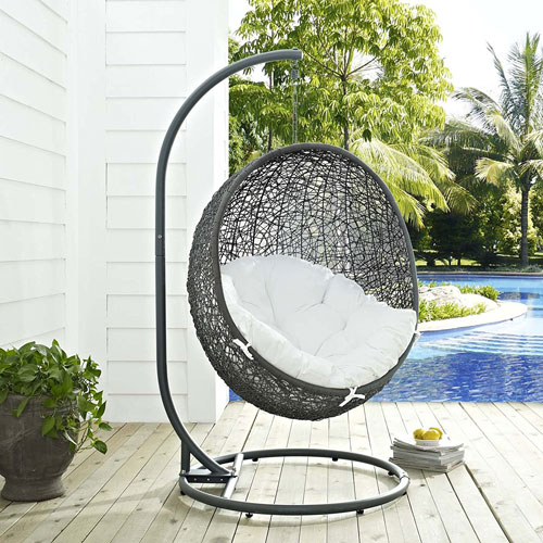 Rattan Outdoor Patio Porch Lounge Egg Swing Chair Set