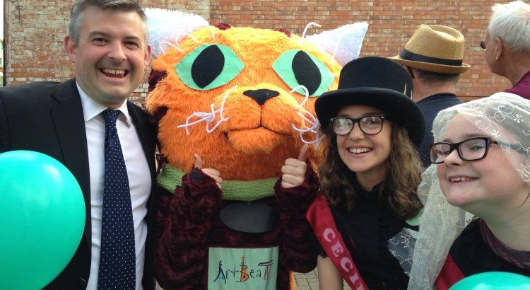 Clarry the Cat at the ArtBeat 2015 launch party