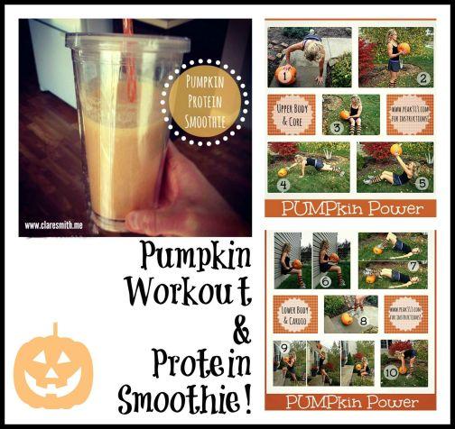 Pumpkin Workout & Protein Smoothie: www.claresmith.me