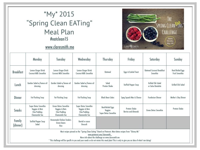 """""""My"""" 2015 """"Spring Clean EATing"""" Meal Plan : www.claresmith.me"""