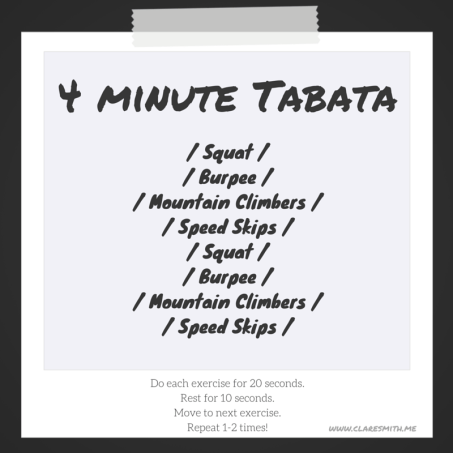 4 minute bodyweight tabata : claresmith.me