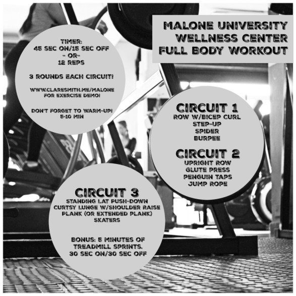 Malone University Wellness Center Workout : www.claresmith.me
