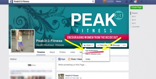 How to get notifications on Facebook pages : peak313.com