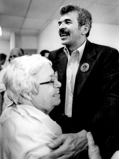 con Blanca Canales a su llegada,1979