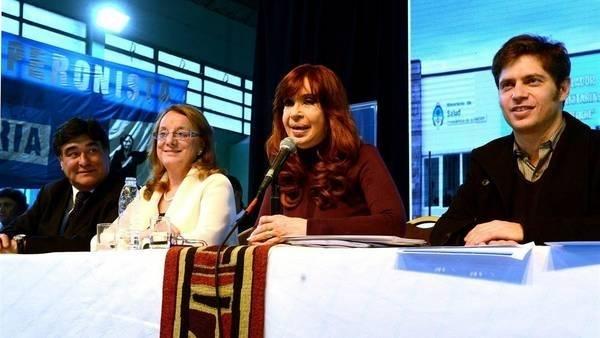 Cristina, con Zannini, Alicia y Kicillof, en el acto de Santa Cruz, la semana pasada.