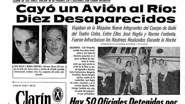 La noticia de la tragedia de los prestigiosos bailarines del Colón, en la tapa de Clarín.