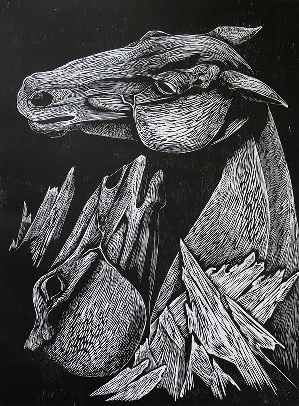 Les chevaux du lac Ladoga IV - gravure