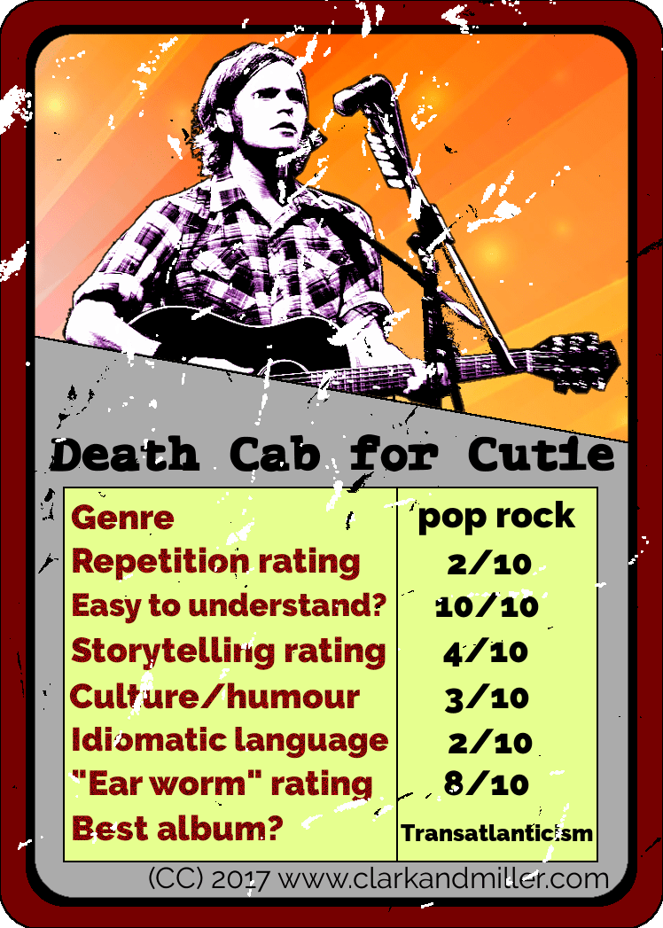 Death Cab for Cutie Top Trumps Card