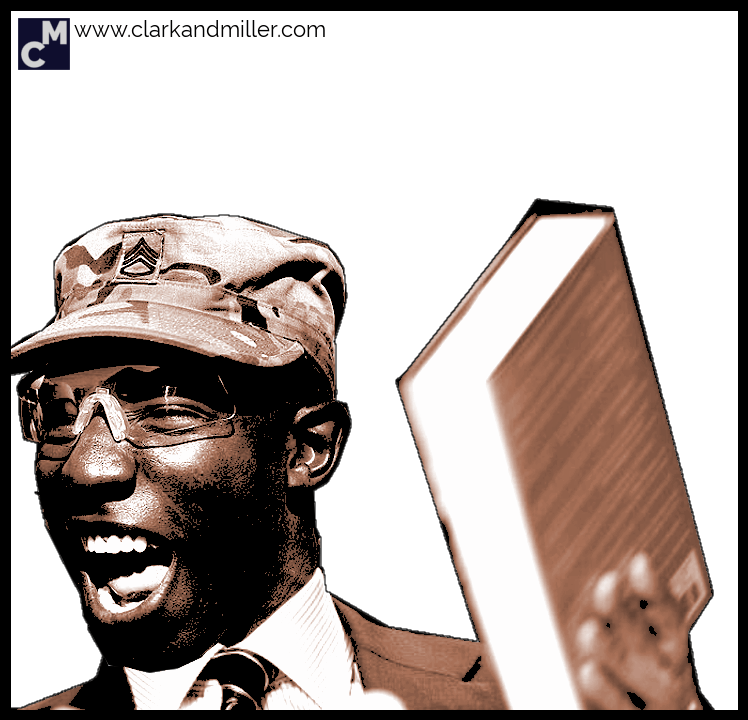 Laughing man holding a book