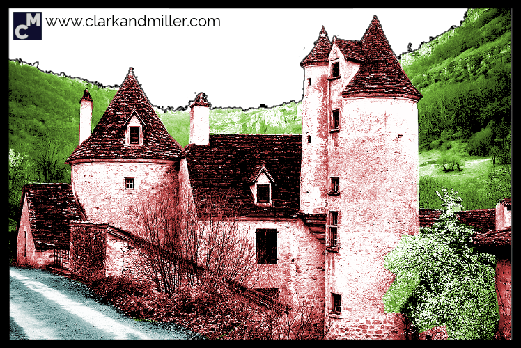 Castle with road and hills