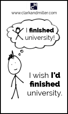 "Past perfect after wish: ""I wish I'd finished university."""