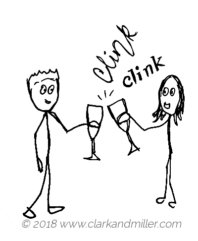 Clink: two people clinking champagne glasses
