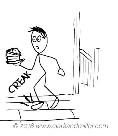 Creak: a man tiptoeing on creaky floorboards