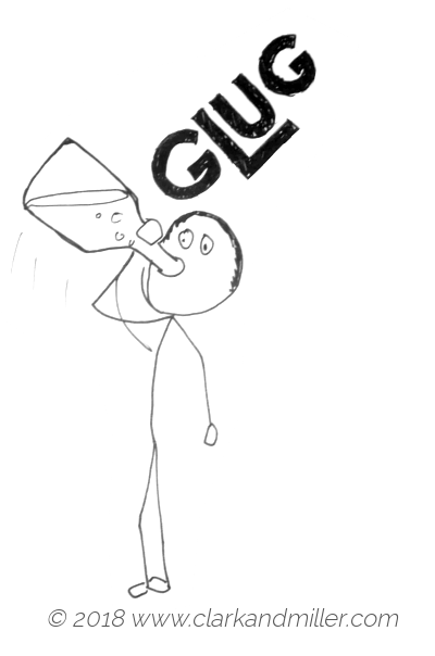 Glug: a man drinking quickly from a bottle