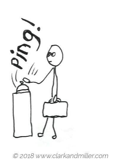 Ping: a man ringing a bell at reception