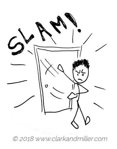Slam: an angry man closing a door