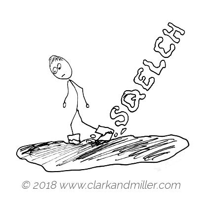 Squelch: a man walking through mud
