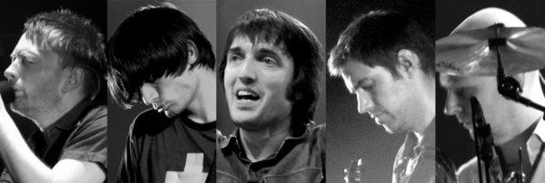 Photographs of five members of Radiohead