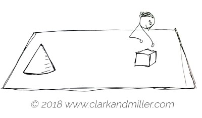 Stick figure woman with a cube and a cone