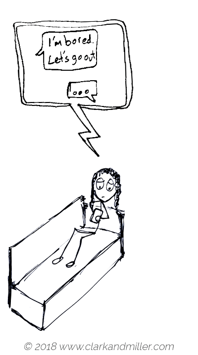 Suggestion example comic: I'm bored. Let's go out.