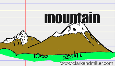 mountain drawing with text