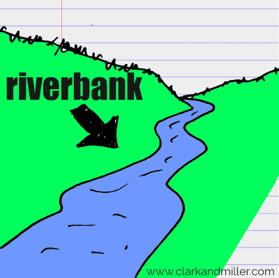 riverbank drawing with text