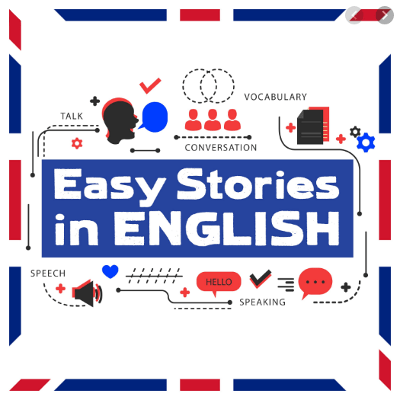 Easy Stories in English Podcast Logo: White text on a blue background