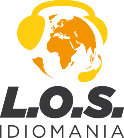 L.O.S. Idiomania Podcast Logo: Yellow and white globe wearing a headset