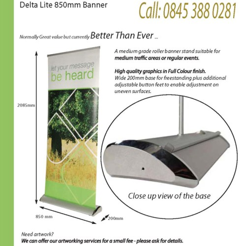Delta Roller Banner Stand - Wide Based for stability and style