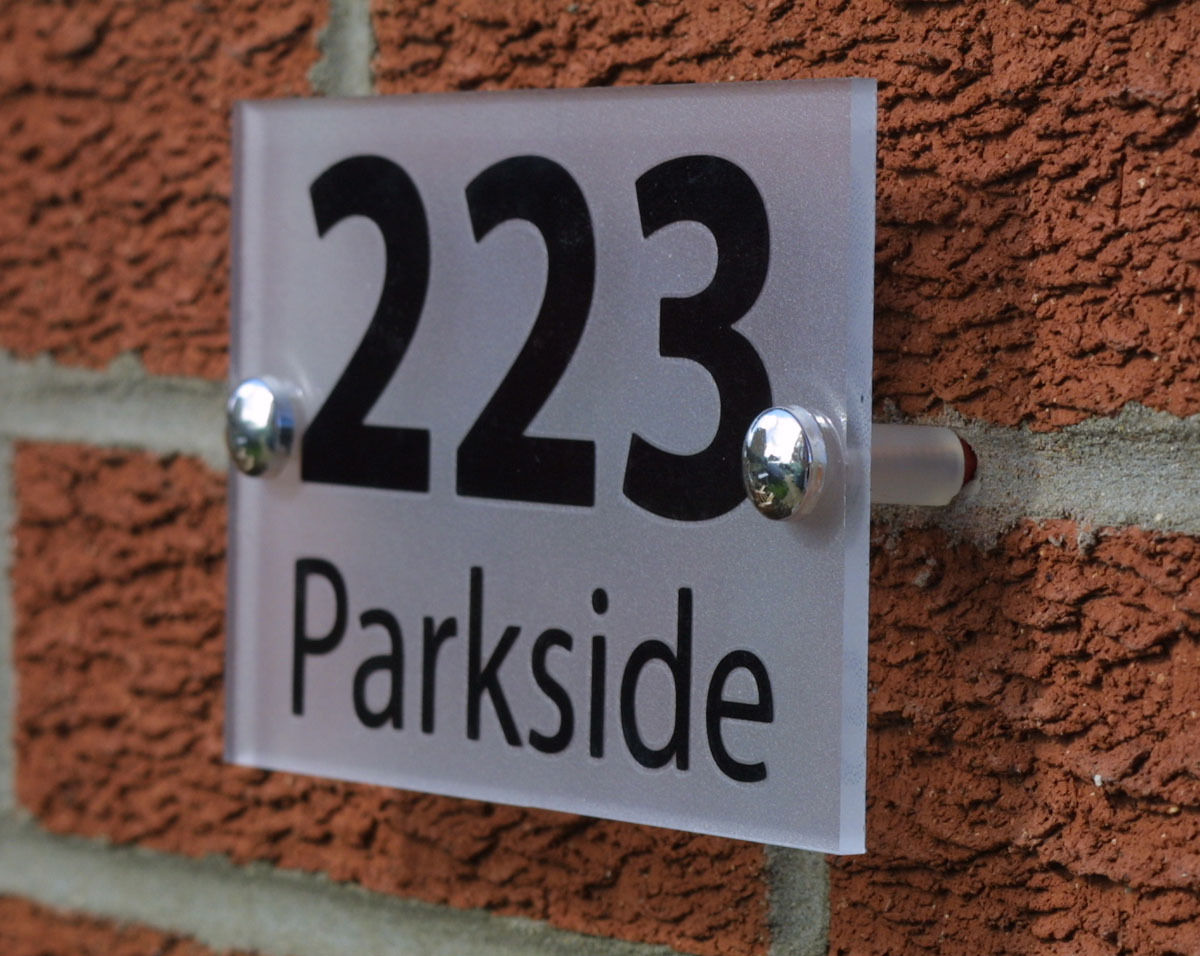 clarke design media ltd contemporary house number sign. Black Bedroom Furniture Sets. Home Design Ideas