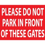 NO PARKING GATES SIGN