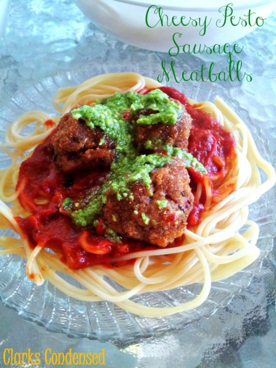 Cheesy Pesto Sausage Meatballs