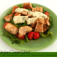Chicken Caesar Salad with Greek Yogurt Caesar Dressing
