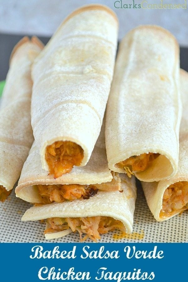 Easy baked salsa verde taquitos by Clarks Condensed