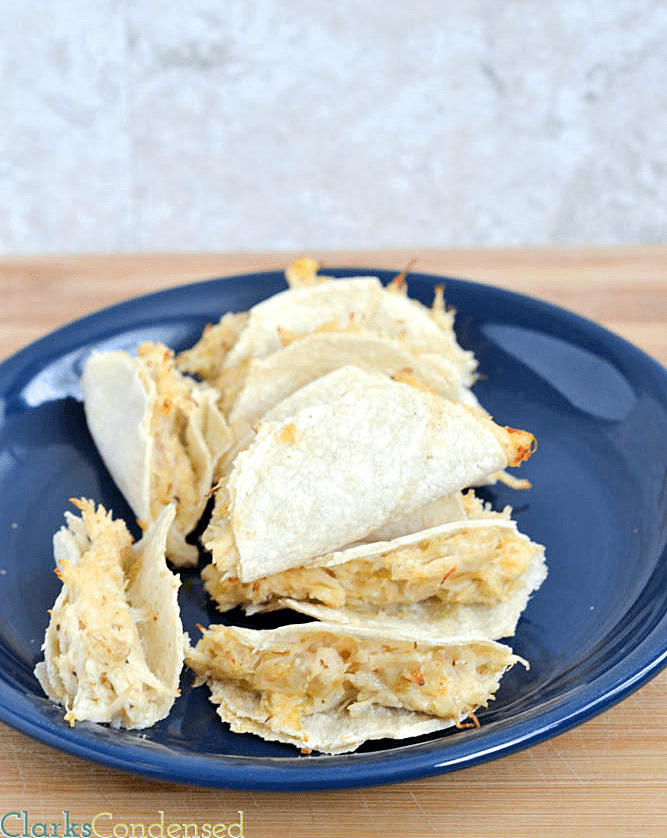 Mini Shredded Chicken Tacos -- easy and perfect for lunch, dinner, or as an appetizer!