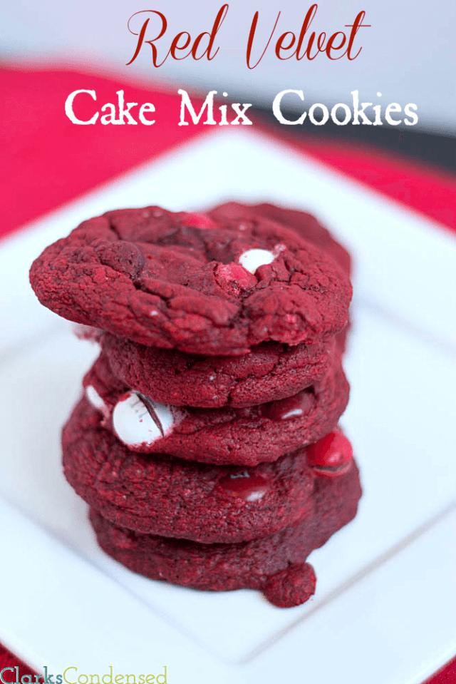 Red Velvet Cake Mix Cookies with Red Velvet M&MS