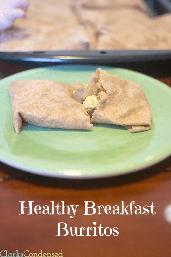 Healthy Breakfast Burritos - filled with diced sweet potatoes, turkey sausage, eggs, and salsa, and wrapped in a wheat torti…
