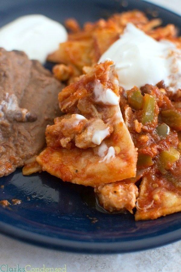 Chilaquiles are perfect for breakfast or dinner and can be as spicy or mild as you want. It is a very simple meal, made with corn tortillas, shredded chicken, and salsa.