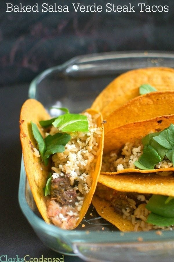 Are you ready for a delicious spin on your regular taco? Then you must try these baked salsa verde steak tacos. The flavor profile is unique (but totally delicious), and they can be made in only 20 minutes!
