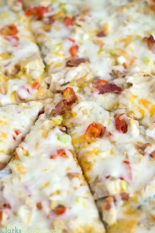 A spot on copycat Papa Murphy's Garlic Chicken Pizza, with homemade ranch sauce