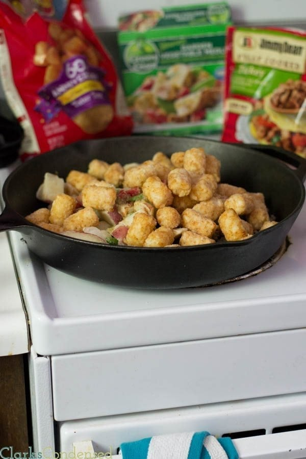 {{20 minutes, One dish!}} This is a tator tot casserole, all grown up! Tator tots, spaghetti sauce, sausage crumbles, veggies, and mozzarella cheese! Everyone is sure to love this dish.