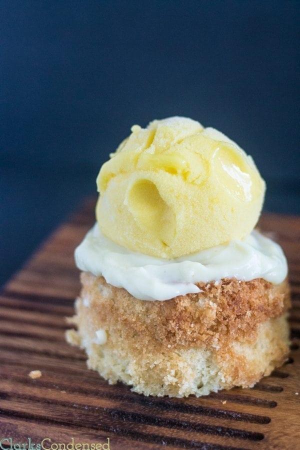 mango butter cake with mango sorbet and custard