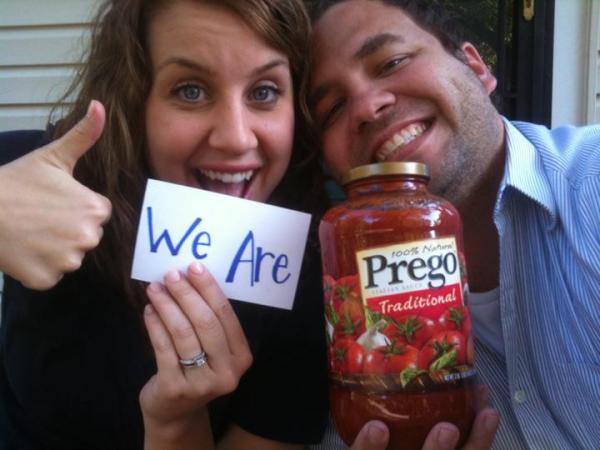 Pregnancy Announcement - Prego Sauce Jar