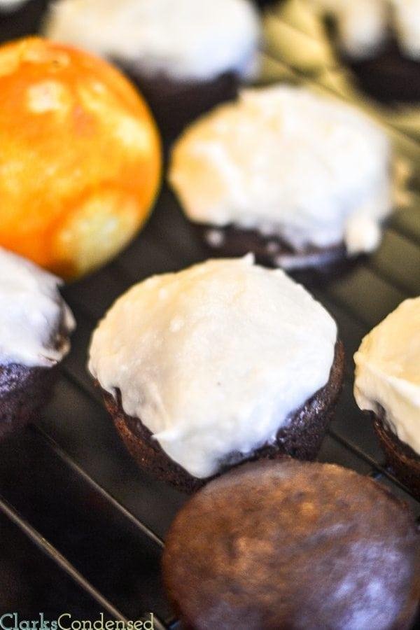 Dark chocolate orange cupcakes with vanilla orange frosting. YUM!