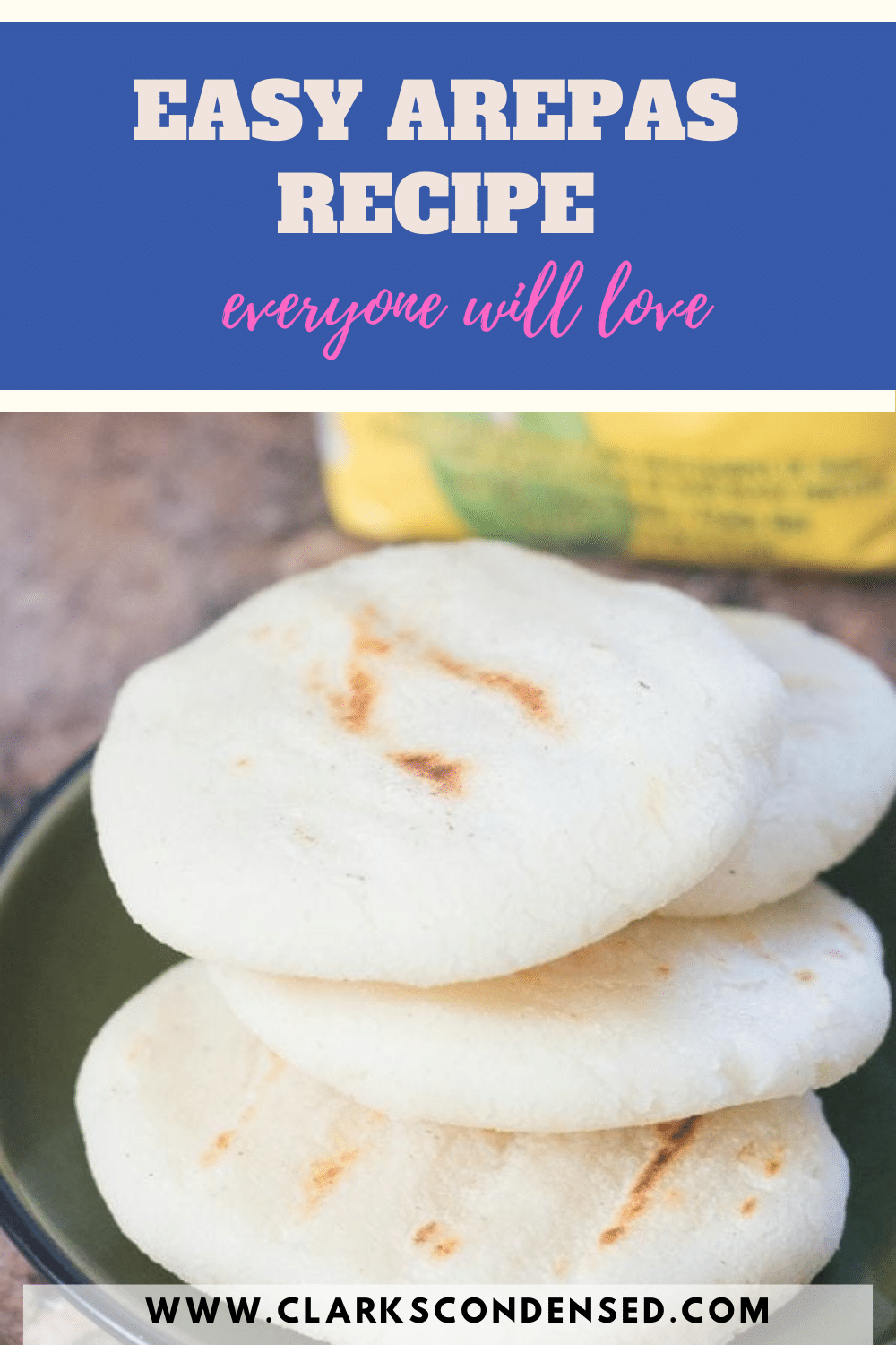 Arepas are a delicious recipe that originated in Colombia, Venezuela, and Panama. This easy arepas recipe uses cornmeal, meat, and cheese. via @clarkscondensed