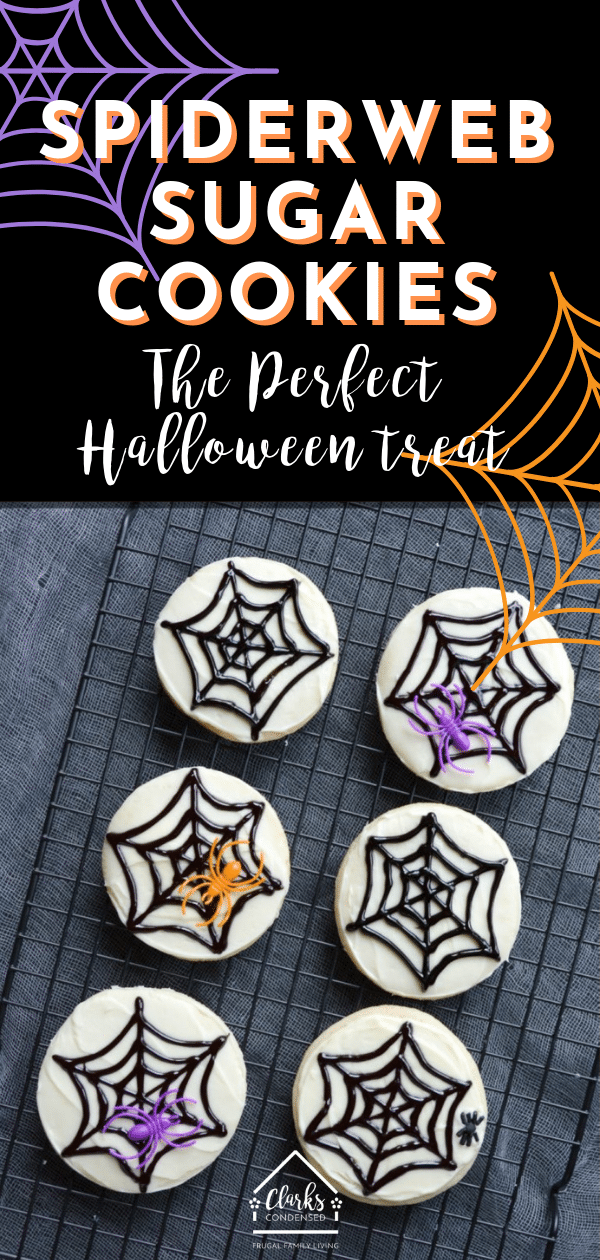 These Spiderweb Sugar Cookies are the PERFECT Halloween Treat. Super easy and kid-friendly. #halloween #halloweencookies #halloweentreats #halloweenideas via @clarkscondensed