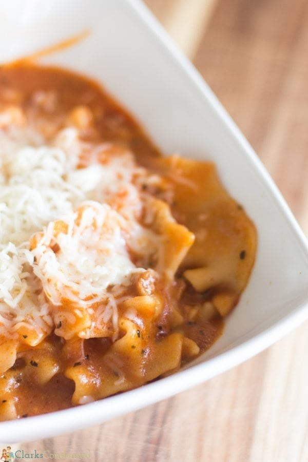 Slow cooker lasagna soup is an amazing and hearty meal that requires very little prep time! We LOVE this soup!