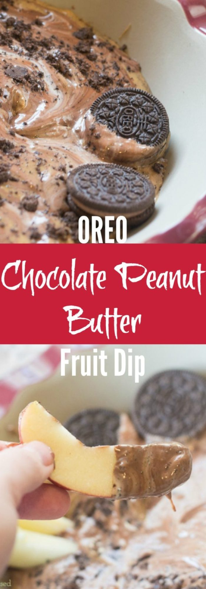 This is the only fruit dip recipe you need - it's creamy, it's chocolate-y, and it's sure to be a hit! OREO Chocolate Peanut butter fruit dip